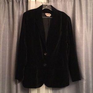 (FL) Black Velvet Lined Blazer (vintage) BrysonLtd